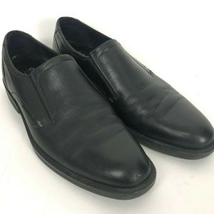 ECCO Mens Slip On Black Leather Loafers Shock Poin
